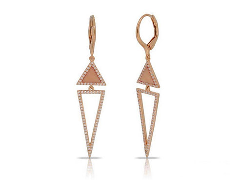 14k Rose Gold, Mother-of-Pearl & Diamond Earrings