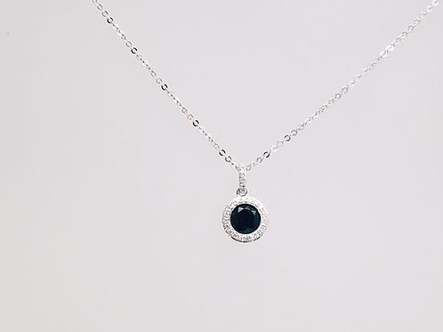14k White Gold, Black Onyx & Diamond Pendant