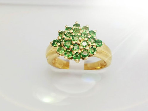 14k Yellow Gold & Tsavorite Garnet Ring