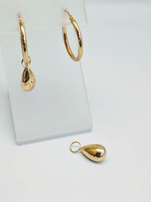 14k Yellow Gold Hoop Charm Earrings