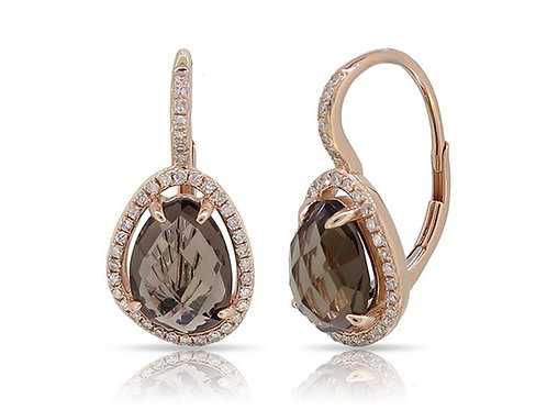 14k Rose Gold, Smoky Topaz & Diamond Earrings