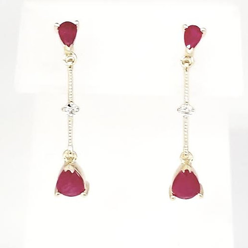 14k Yellow Gold Ruby & Diamond Dangle Earrings
