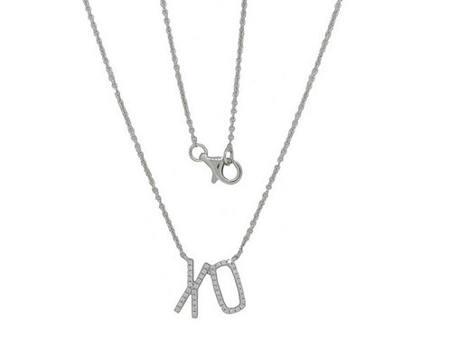"14k White Gold & Diamond ""XO"" Necklace"