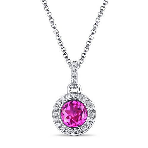 14k White Gold, Synthetic Pink Sapphire & Diamond Pendant with Chain