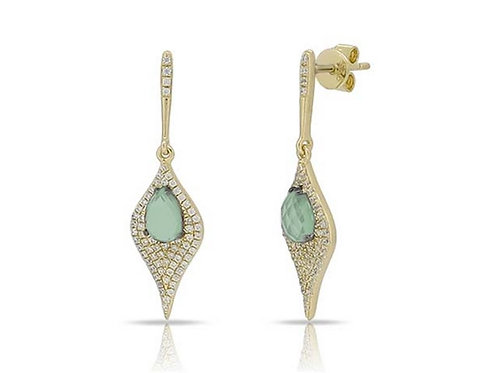 14k Yellow Gold, Green Amethyst & Diamond Earrings