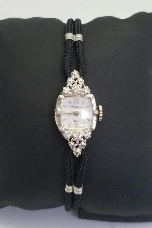 "14k White Gold ""BULOVA"" Diamond watch"