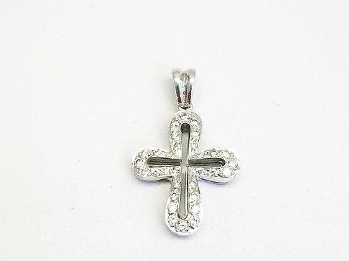 18k White Gold & Diamond Cross Pendant
