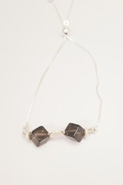 Sterling Silver & Smokey Topaz Custom Designed Bracelet