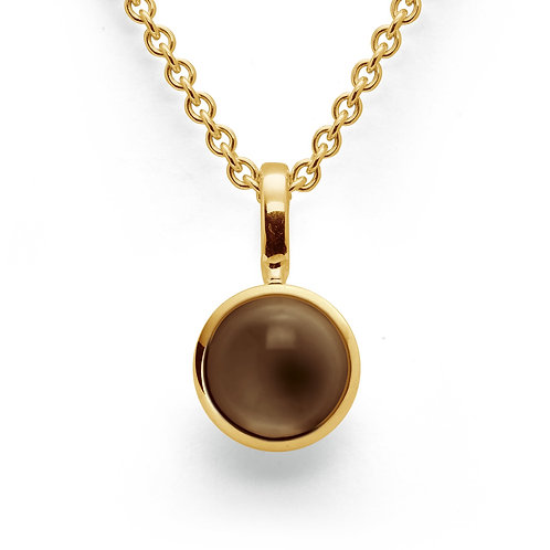Sterling Silver Yellow Gold Plated & Smokey Topaz Pendant (part of a set)
