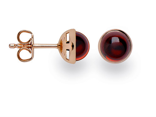 Sterling Silver Rose Gold Plated & Garnet Earrings (part of a set)