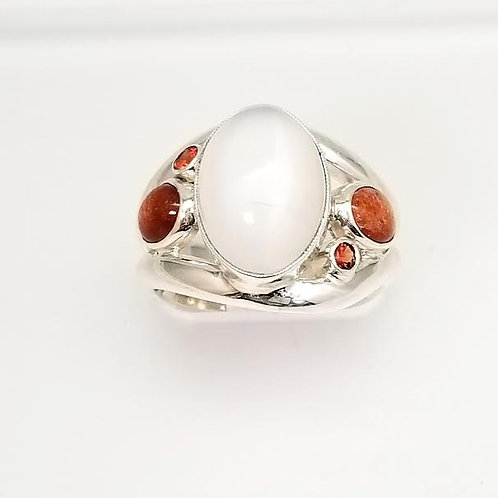 Sterling Silver Custom Designed Multi-Color Stone Ring