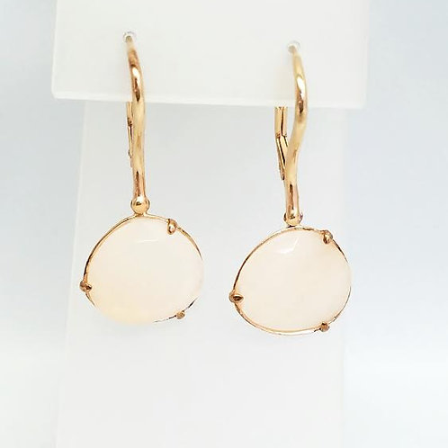 Rose Gold Plated & Pink Adventurine Dangle Earrings