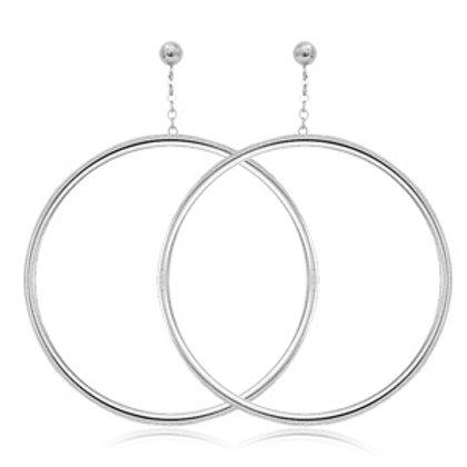 Sterling Silver Tube Hoop Chain Earrings