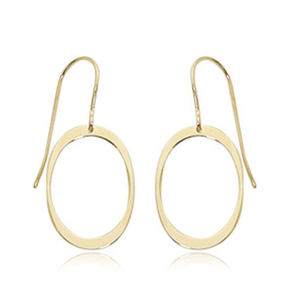 14k Yellow Gold Oval Dangle Earrings
