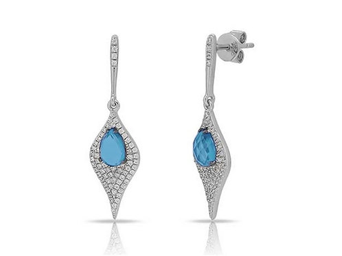 14k White Gold, Blue Topaz & Diamond Earrings