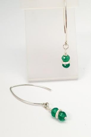 Sterling Silver & Green Onyx Custom Designed Earrings