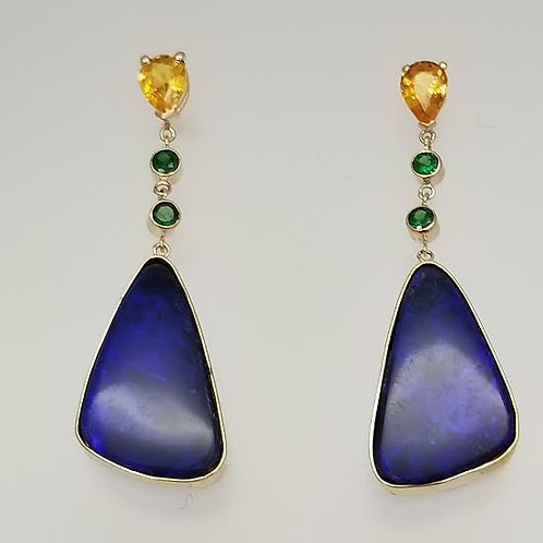 14k Yellow Gold Opal, Garnet & Sapphire Custom Designed Earrings