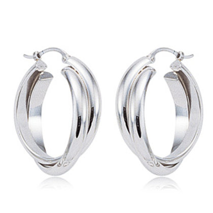 Sterling Silver Cross Over Hoop Earrings