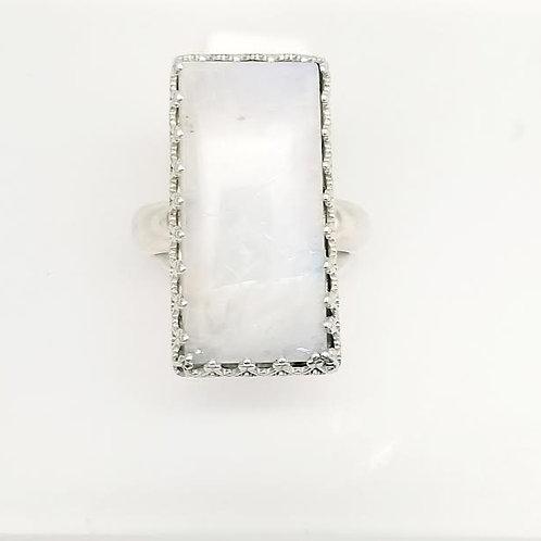 Sterling Silver Custom Designed Rainbow Moonstone Ring
