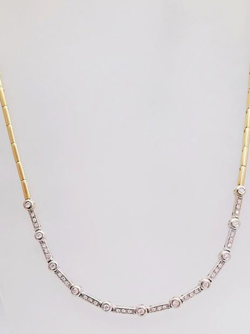 10K Yellow & White Gold & Diamond Necklace