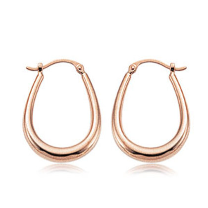 14k Rose Gold U Shaped Hoop Earrings
