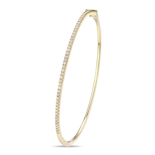 14k Yellow Gold & Diamond Bangle Bracelet