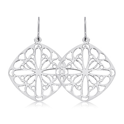 Sterling Silver Cushion Lace Earrings
