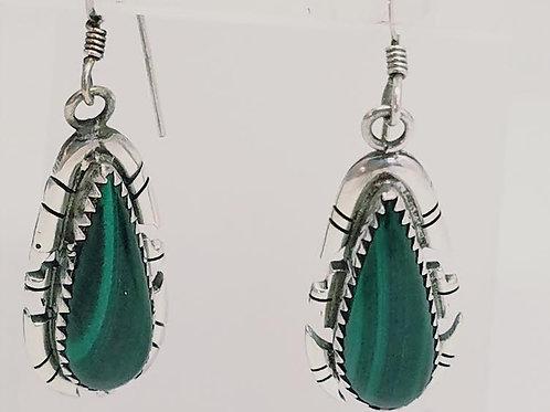 Sterling Silver & Malachite Dangle Earrings