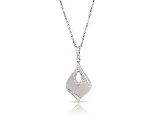 14k White Gold & Diamond Pendant with Chain
