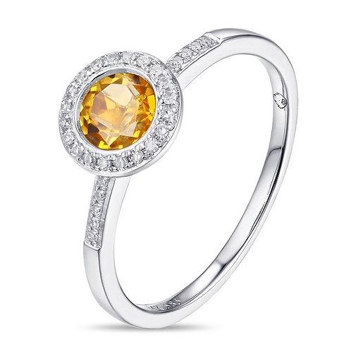 14k White Gold, Citrine & Diamond Ring
