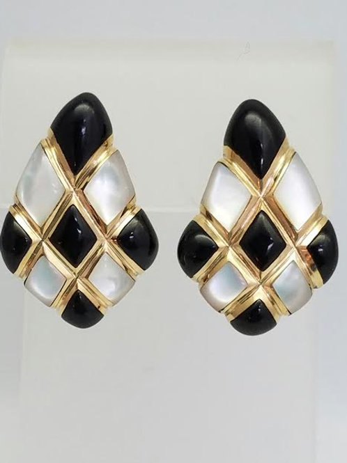 "14k Yellow Gold, Black Onxy & Mother of Pearl Earrings by ""KABABA"""