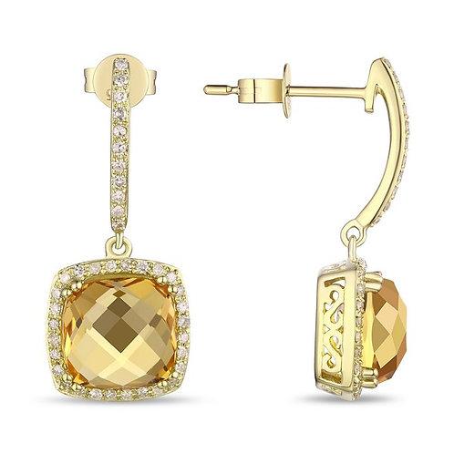 14k Yellow Gold Citrine & Diamond Earrings