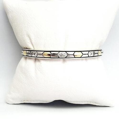 Sterling Silver, Gold Overlay & Diamond Bangle Bracelet