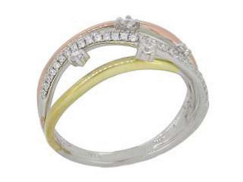 14k White,Yellow, Rose Gold & Diamond Ring