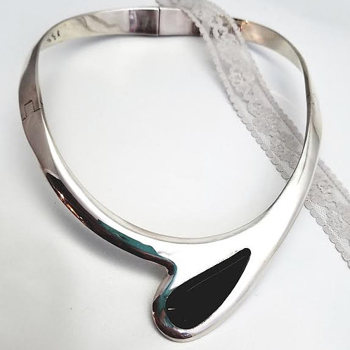 Sterling Silver & Black Onyx Cuff Necklace