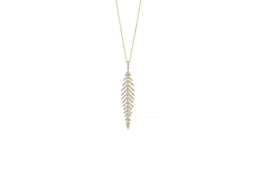 14k Yellow Gold & Diamond Pendant with Gold Chain