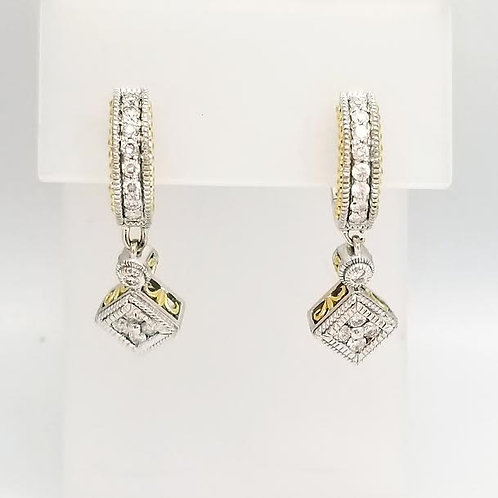 14K Yellow & 18K White Gold & Diamond Dangle Earrings