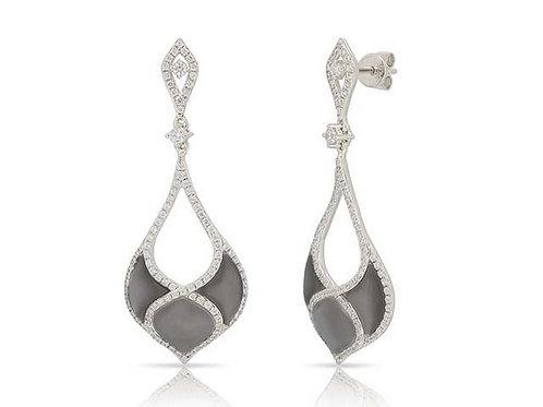 14k White Gold, Black Mother-of-Pearl & Diamond Earrings