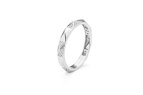 14k White Gold & Diamond Stack Ring