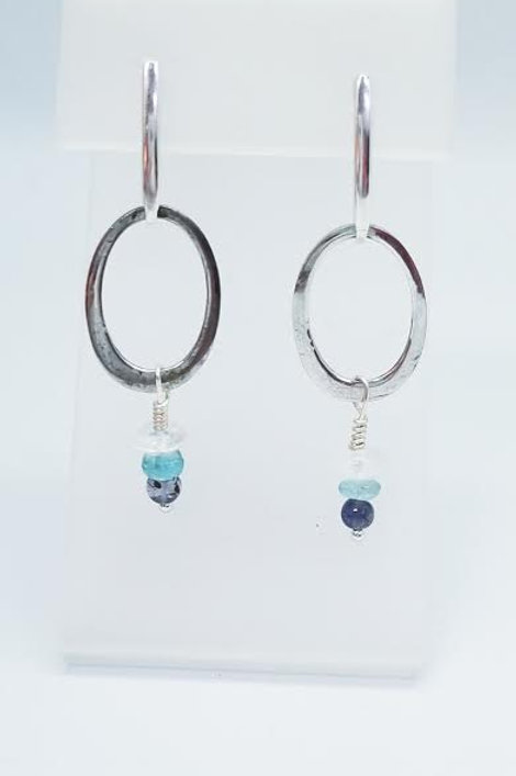 Sterling Silver Aqua, Zircon & Iolite Custom Designed Earrings