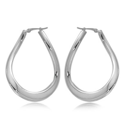 Sterling Silver Teardrop Hoop Earrings