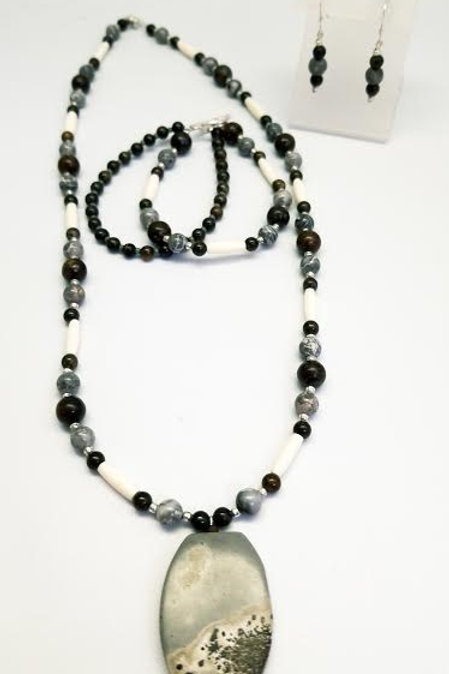 Sterling Silver Custom Designed Stone & Bead Necklace, Bracelet & Earrings