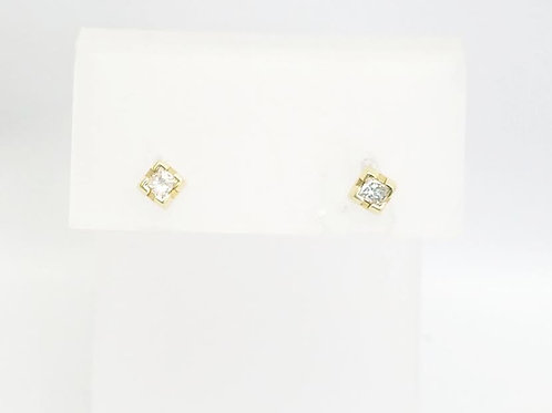 14k Yellow Gold & Princess Diamond Earrings .16cttw