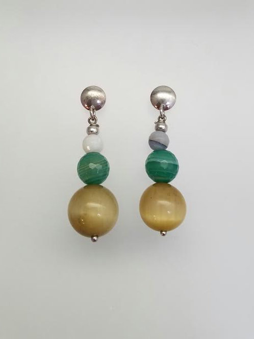 Sterling Silver & Color Stone Dangle Earrings