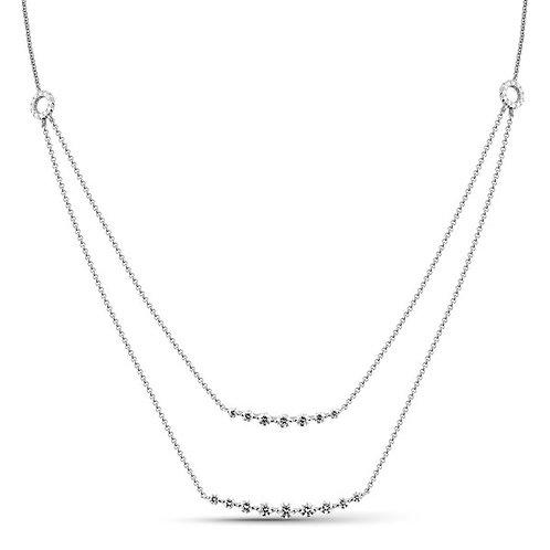 14k White Gold Double Diamond Necklace