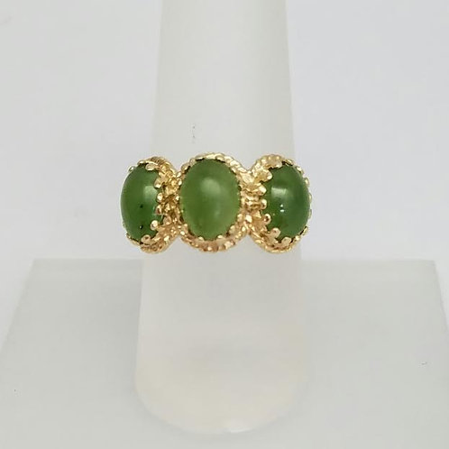 14k Yellow Gold and Green Hydrogrossular Garnt Ring