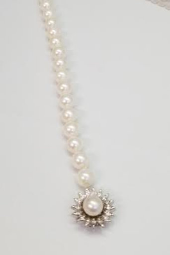 14k White Gold & Cultured Pearl Bracelet with Diamond Clasp