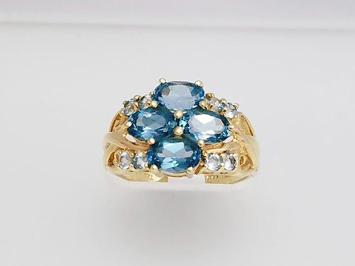 14k Yellow Gold &  Blue Topaz Ring