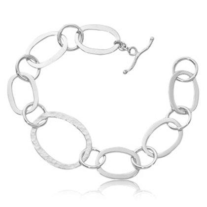 Sterling Silver Hammered Oval Link Bracelet
