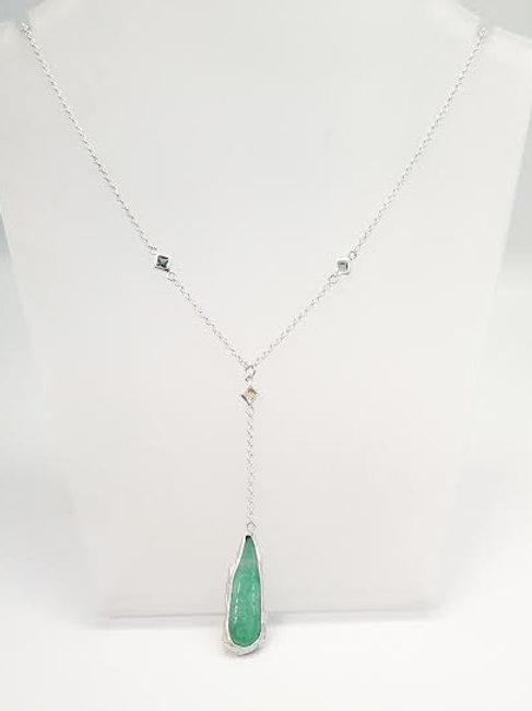 Reversible Sterling Silver Jade & Sapphire Custom Designed Necklace